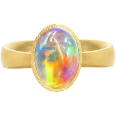 Devta Doolan Exceptional Mexican Crystal Rainbow Opal One of a Kind Gold Ring