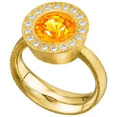 Devta Doolan Fine Mandarin Garnet Ideal Cut White Diamond One of a Kind Ring