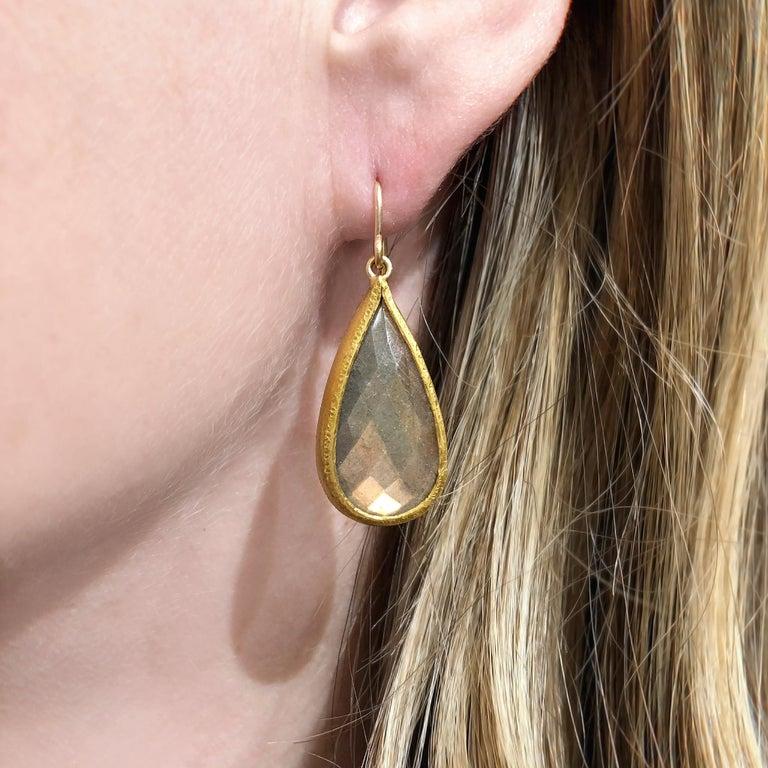 Artisan Devta Doolan Fine Spectrolite Labradorite High Karat Gold One of a Kind Earrings For Sale