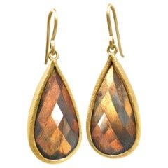 Devta Doolan Fine Spectrolite Labradorite High Karat Gold One of a Kind Earrings