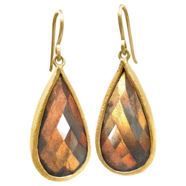 Devta Doolan Fine Spectrolite Labradorite High Karat Gold One of a Kind Earrings For Sale