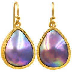 Devta Doolan Iridescent Sea of Cortez Mabe Pearl Dangle Drop Earrings