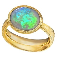 Devta Doolan Lightning Ridge Opal High Karat Gold One of a Kind Ring