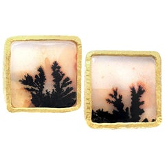 Devta Doolan Matched Dendritic Agate Square One of a Kind Stud Earrings