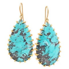 Devta Doolan Natural Morenci Turquoise Gold Talon One of a Kind Drop Earrings