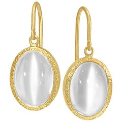 Devta Doolan Oval Cat's-Eye Silver Moonstone One of a Kind Gold Drop Earrings