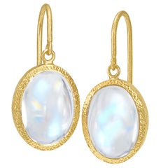 Devta Doolan Oval Rainbow Moonstone One of a Kind Gold Dangle Earrings