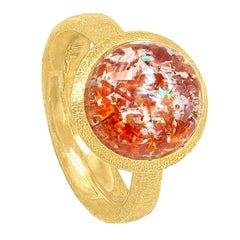 Devta Doolan Prized Natural Rainbow Sunstone One of a Kind Gold Ring