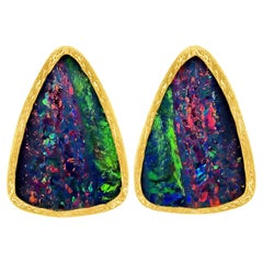 Devta Doolan Violet Blue Opal Doublet Multicolored Fire Confetti Stud Earrings