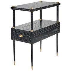 Dexter Contemporary Drawer Table in Black Cerused with Brass Details