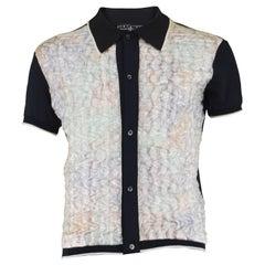 Dexter Wong Men's Vintage Avant Garde Textured Organza Polo Shirt, 1990s.