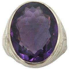 D&F 14 Karat White Gold Amethyst Ring