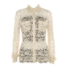 D&G Beige Floral Lace Long Sleeve Blouse S