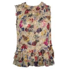 D&G Beige Floral Printed Silk Chiffon Ruffle Trim Sleeveless Top S