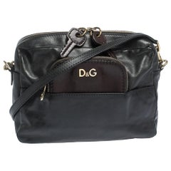 D&G Black/Brown Leather Crossbody Bag
