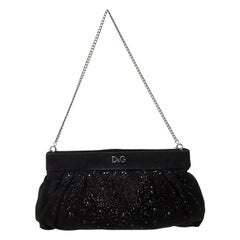 D&G Black Crystal Embellished Suede Chain Clutch