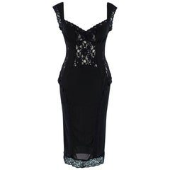 D&G Black Lace Sleeveless Sheer Dress 28 - Size M