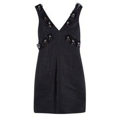 D&G Black Raw Cotton Silk Embellished Sleeveless Dress XS