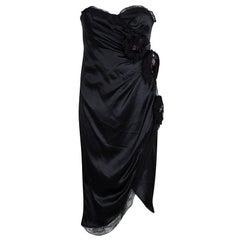 D&G Black Silk Embellished Fringed Scallop Lace Trim Detail Strapless Dress M