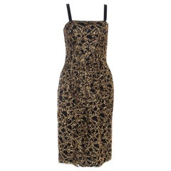 D&G Black Tulle and Gold Confetti Embellished Cocktail Dress S