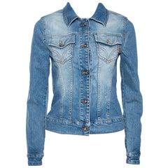 D&G Blue Medium Washed Denim Button Front Jacket M