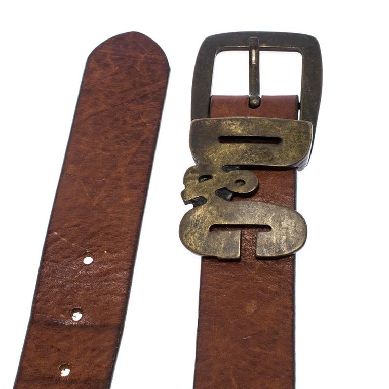 Men's D&G Brown Leather Chain Detail Logo Buckle Belt 95CM For Sale