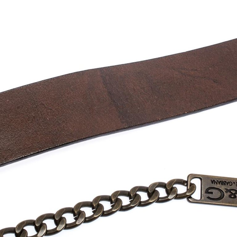 D&G Brown Leather Chain Detail Logo Buckle Belt 95CM For Sale 1