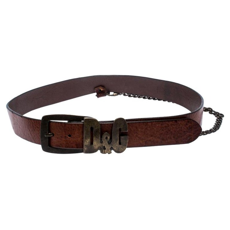 D&G Brown Leather Chain Detail Logo Buckle Belt 95CM For Sale