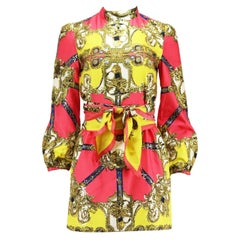 D&G By Dolce And Gabbana Embroidered Printed Silk Twill Mini Dress IT 42 UK 10