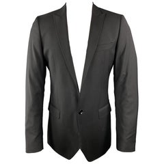 D&G by DOLCE & GABBANA 36 R Black Solid Wool Notch Lapel Sport Coat