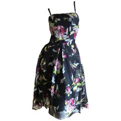 D&G by Dolce & Gabbana Black Silk Floral Vintage 1950's Style Cocktail Dress