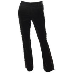 D&G by Dolce & Gabbana Black Velvet Lace-Up Pants