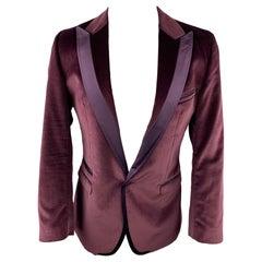 D&G by DOLCE & GABBANA Brad Size 42 Eggplant Purple Velvet Peak Lapel Sport Coat