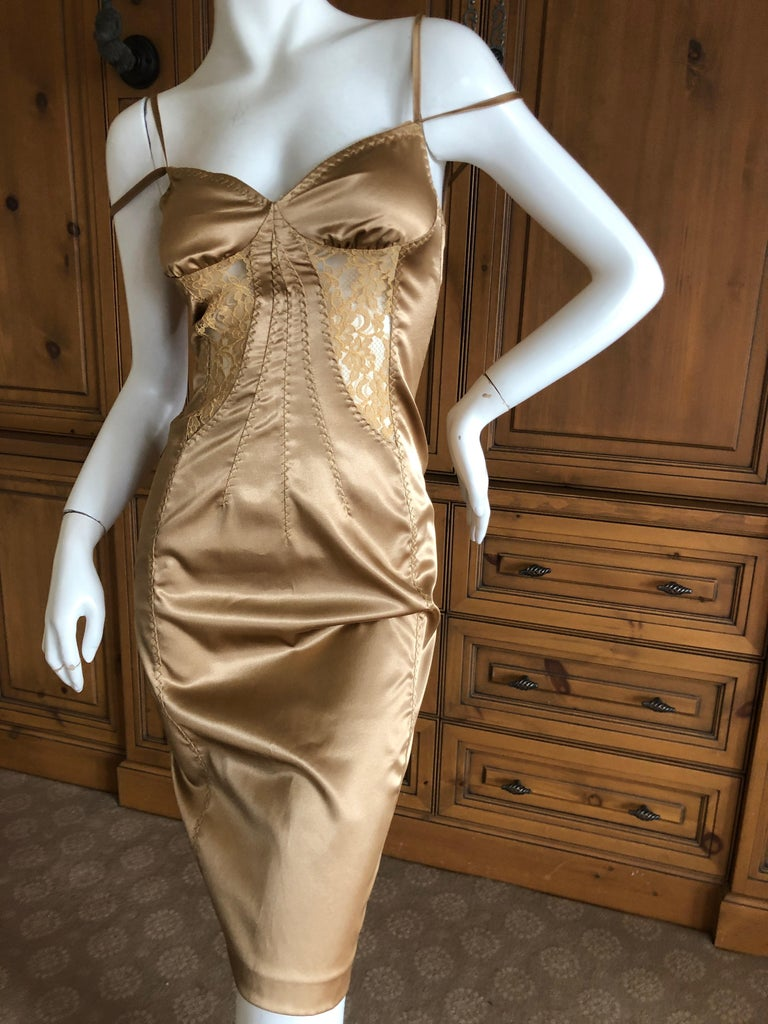 ae73aa82c5f57 D&G by Dolce & Gabbana Sexy Vintage Gold Cocktail Dress with Sheer Lace  Insert