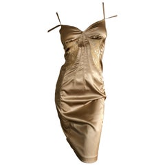 D&G by Dolce & Gabbana Sexy Vintage Gold Cocktail Dress with Sheer Lace Insert
