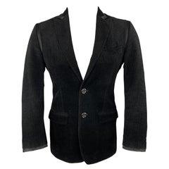 D&G by DOLCE & GABBANA Size 36 Black Textured Velvet Peak Lapel Sport Coat