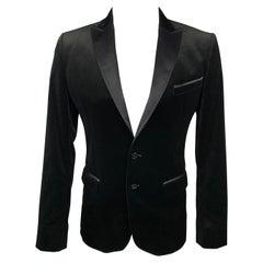 D&G by DOLCE & GABBANA Size 38 Black Velvet Peak Lapel Sport Coat