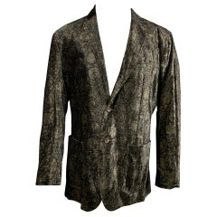 D&G by DOLCE & GABBANA Size 40 Black & Gold Print Velvet Sport Coat
