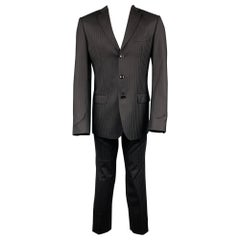D&G by DOLCE & GABBANA Size 40 Regular Black Stripe Wool Blend Notch Lapel Suit