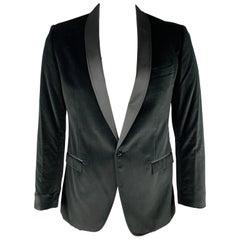 D&G by DOLCE & GABBANA Size 42 Black Solid Velvet Shawl Collar Sport Coat