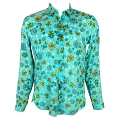 D&G by DOLCE & GABBANA Size L Aqua & Green Floral Cotton Long Sleeve Shirt