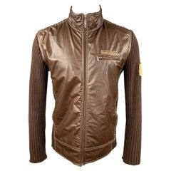D&G by DOLCE & GABBANA Size XL Brown Knit Cotton Bomber Jacket