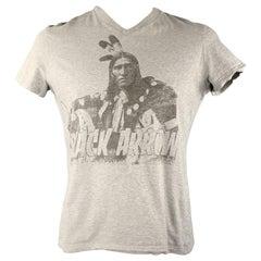 D&G by DOLCE & GABBANA Size XL Light Grey Black Arrow Graphic Cotton T-shirt