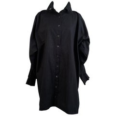 D&G Dolce & Gabbana Black Shirt Dress with Braces Detailing Size 42