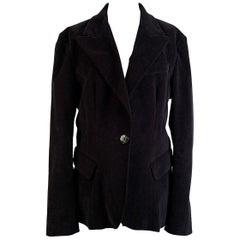 D&G Dolce & Gabbana Black Velvet Blazer Jacket Size 46
