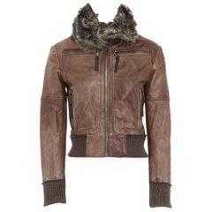 D&G DOLCE GABBANA brown leather fur collar aviator bomber jacket IT38 US0 XS