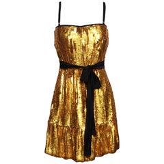 D&G Dolce & Gabbana Gold Sequin Cocktail Dress