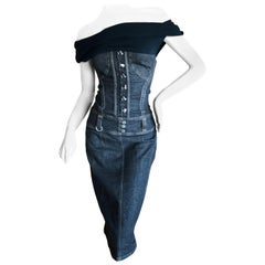 D&G Dolce & Gabbana Sexy Vintage Dark Denim Off the Shoulder Corset Dress