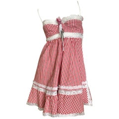 D&G Dolce & Gabbana Sexy Vintage Lace Trimmed Gingham Dress