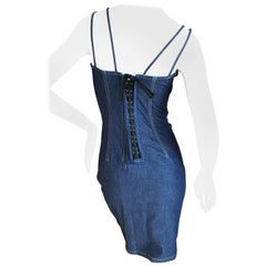 D&G Dolce & Gabbana Vintage Dark Denim Corset Dress with Lace Up Back
